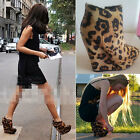 Womens Leather Leopard Wedge Ankle Short Boots Size 8