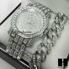 TECHNO PAVE ICED OUT FINISHED LAB DIAMOND SILVER WATCH CUBAN CHAIN BRACELET SET image