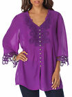 Purple Amethyst & Crochet Lace Tunic Top Blouse Smock Size 12 to Plus Size 32