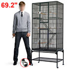 UK 69.2'' LARGE PARROT BIRD MACAW AVIARY FLIGHT CAGE WIRE WITH STAND&WHEEL