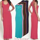 Ladies Womens Plain Racer Back Vest Sleeveless Stretch Bodycon Long Maxi Dress