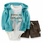 Carters 3 Months French Terry Cardigan Bodysuit Shorts Set Baby Boy Clothes