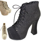 Women's Ankle High Round Toe Cowboy Perforated Lace Up Chunky Fashion Booties
