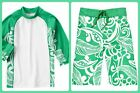 Gymboree NWT Tropical Green and White Board Short or Matching Rash Guard Size 8