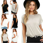 Trendy Women Batwing Sleeve Shirt Cotton Blend Loose Casual Backless Tops Blouse