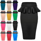 Womens Ladies Stretchy High Waisted PVC PU Wetlook Frill Midi Skirt Plus Sizes