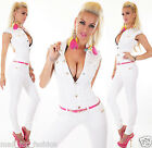 SEXY WHITE DENIM OVERALL JUMPSUIT WITH PINK BELT AND GOLD COLOUR CHAINS.