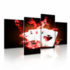 Poker On Fire Funky Print Stretched Canvas Wall Art Deco ~ 4 Panels