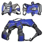 BLUE Comfortable HEAVY DUTY Dog Harness Handle Lift Reflective Medium Large M-XL