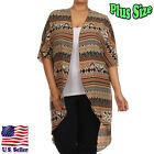 (PLUS SIZE) Cardigan Aztec Border Print Hi-Low Open Front 3/4 Sleeves GKA4152_G