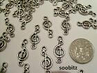10 Tibetan Silver Musical Music Note (3) Charms - 8x19mm