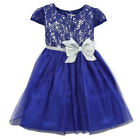 Youngland Size 5 6 Blue Sparkle Lace Party Dress With Silver Bow Girl Blue