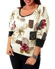 T21 New Womens Ivory 3/4 Sleeve Floral Spring Fashion Plus Size Chic Tops Blouse
