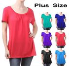 Plus Size Basic Solid Scoop-Neck Short Sleeve Missy Top 1XL ~ 3XL
