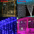 110V 3X3M 300 LEDS Fairy Lights String Curtain for Stage Party Christmas US Plug