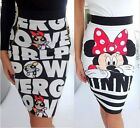 Fashion Women Minnie Mickey Mouse Print Bodycon Cocktail Party Pencil Mini Skirt