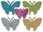 New 12 x Self Adhesive Glitter Butterflies Card Making Craft Embellishments 4cm