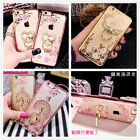 Bling Flower Crystal Soft Diamond case with Finger Ring Stand For Various Phones