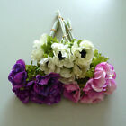 Anemone Ostrich with 6 Blossom 26cm artificial Flowers white pink purple
