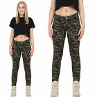 Womens Military Army Green Camouflage Skinny Slim Stretch Jeans Pants Trousers