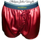 BURGUNDY RED SHINY SATIN CLASSIC DESIGN BOXER SHORTS by PJW Made in France