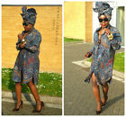 Ankara African Print Oversized Tunic Shirt Dress Size 12,14,16,18UK/8,10,12,14US