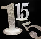 Wedding Table Numbers SILVER GLITTER Effect Freestanding Table Decoration