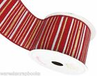 10 Yards Creative Ideas Red Metallic Stripes Canvas Ribbon 2-1/2""