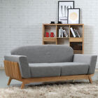 Noah 2 Seater Timber Sofa / Couch - Solid Oak Wood - Light Grey Fabric