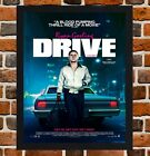 Framed Drive Ryan Gosling Movie Poster A4 / A3 Size In Black / White Frame