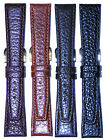 Hadley-Roma Shrunken Grain Leather Watch Band Black Brown Tan Burgundy 16 ~20mm