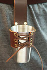 Medieval-Larp-Pagan-Reenactment-Leather HANG FROM BELT METAL CUP & LEATHER FROG