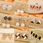 1 Pair New Fashion Women Lady Elegant Pearl Rhinestone Ear Stud Earrings