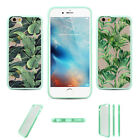 Include 2 Pcs Summer Green Palm Leaves Clear Hard TPU Case For Iphone 6S Plus 5S