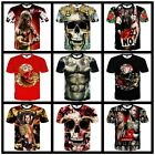 Fashion Men's Womens 3D Skull Muscle Print Casual Short Sleeve Tee Tops T-Shirt