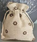 3 x Pretty Natural Linen Fabric Floral Print Drawstring Pouch Gift Bag