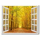 Pathway Autumn Park Picture 3D French Window Canvas Print Home Décor Wall Frames