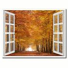 Sand Lane Autumn Picture 3D French Window Canvas Print Home Décor Wall Frames