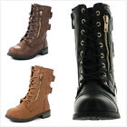 Brand New Kids Girl's Mid Calf Military Lace Up Quilted Riding Combat Boots