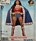 Simplicity Sewing Pattern 1024 DC Comics Wonder Woman Costume Pick Size