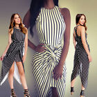 New Womens Celeb Striped Long Maxi Dress Ladies Summer Beach Party Cocktail Gown