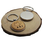 HEART Wood & SILVER Keyring Personalised  Engraved MONOGRAMMED INITIALS 2 HEARTS