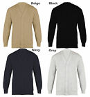 Men's Plain Cardigan Cotton Mix V Neck Buttoned Jumper S To 5XL King Size