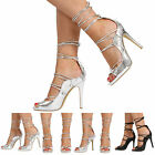NEW WOMENS LADIES PEEP TOE HIGH STILETTO HEEL LACE UP SANDAL SHOES SIZE 3-8