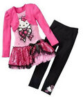 Hello Kitty Girl Spring Fall Cotton Dress+Leggings Long Sleeve Cartoon Pink 2T-6