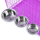 Stainless Steel Dog Bowls Cat Pet Feeder on Cage Coop Crate Food Water Dishes