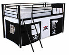 Mid sleeper Cabin Bed Childrens Kids Tent Bunk Bed Ladder Boys Girls Black Metal