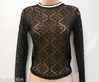 M&S Black Net Design Long Sleeve Fitted Blouse Top (NEW) UK Size 8 or 10 £25.00