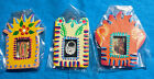 Set of 3 Refrigerator Magnets Mexican Day of the Dead Milagro Hand Painted Tin