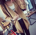 Women Fall Winter Outwear Lapel Coat Irregular Knitted Sweater Cardigan Casual
